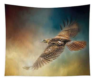 When The Redtail Flies At Sunset Hawk Art Tapestry