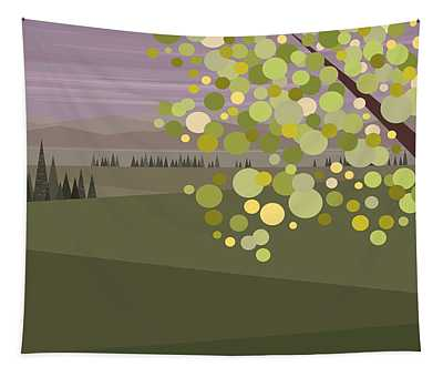 Whimsical Green Tree Tapestry