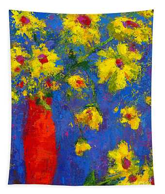 Abstract Floral Art, Modern Impressionist Painting - Palette Knife Work Tapestry