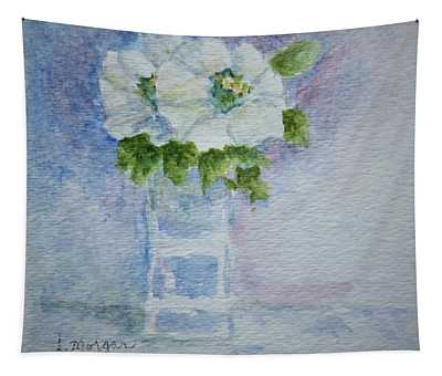 White Blooms In Blue Vase Tapestry