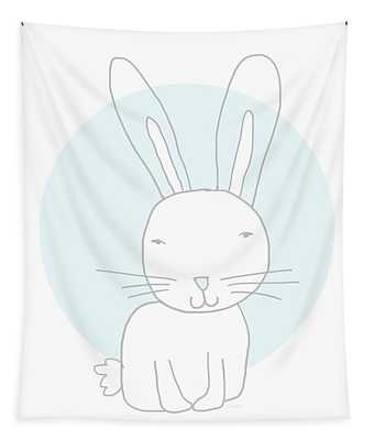 White Bunny On Blue- Art By Linda Woods Tapestry