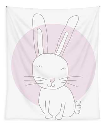 White Bunny On Pink- Art By Linda Woods Tapestry