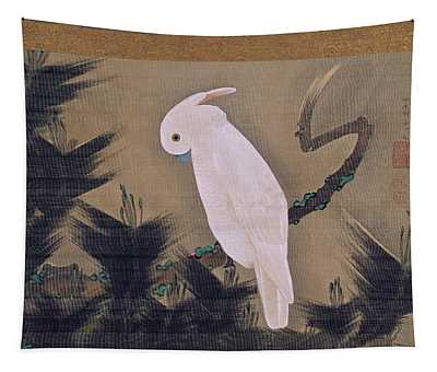 White Cockatoo On A Pine Branch Tapestry