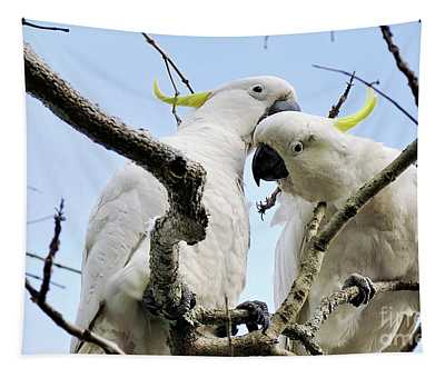 White Cockatoos Tapestry