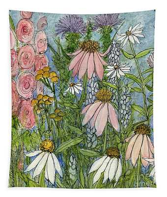 White Coneflowers In Garden Tapestry