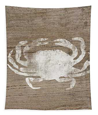 White Crab On Wood- Art By Linda Woods Tapestry
