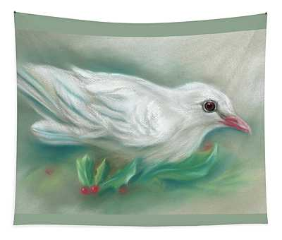 White Dove With Christmas Holly Tapestry