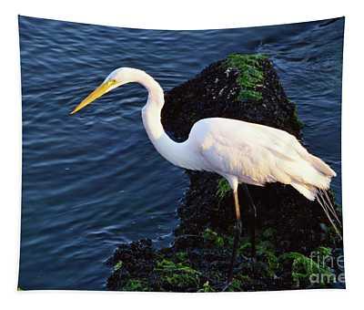 White Egret At Sunrise - Barnegat Bay Nj  Tapestry