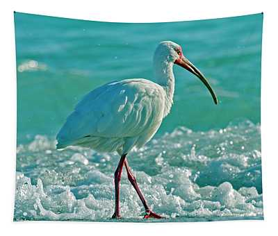 White Ibis Paradise Tapestry