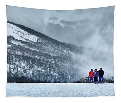White Landscape In The Frozen Paradise In The Argentine Patagonia Tapestry