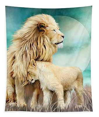 White Lion Family - Protection Tapestry