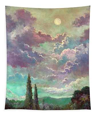 White Moon Rising Tapestry