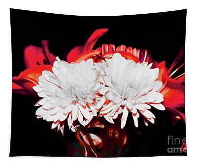 White Mums And Red Lilies Tapestry