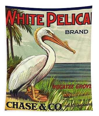 White Pelican Fruit Crate Label C. 1920 Tapestry