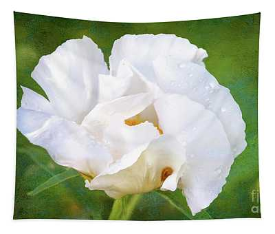 White Peony After The Rain Tapestry