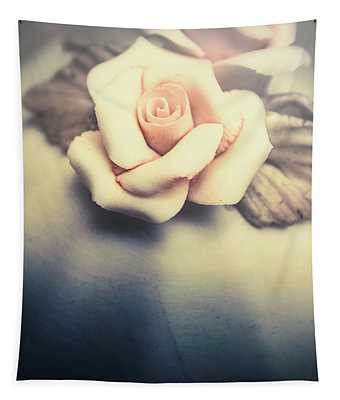 White Porcelain Rose Tapestry