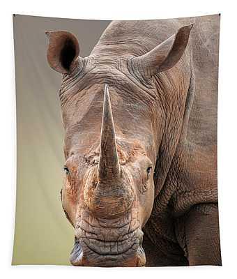 White Rhinoceros Portrait Tapestry