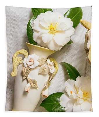 White Rhododendron Funeral Flowers Tapestry