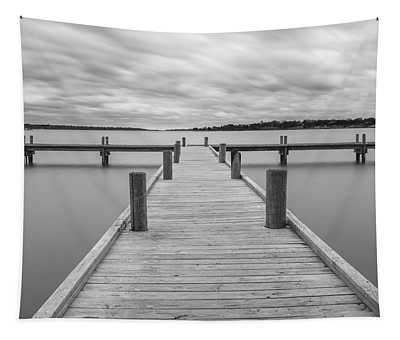 White Rock Lake Pier Black And White Tapestry