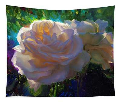 White Roses In The Garden - Backlit Flowers - Summer Rose Tapestry