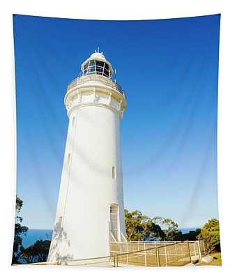 White Seaside Tower Tapestry
