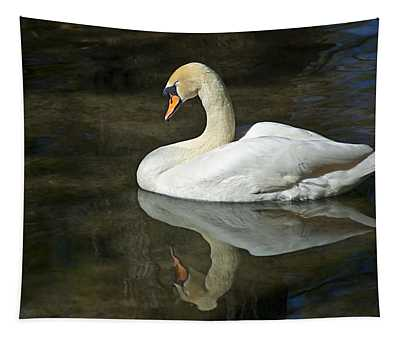 White Swan On River Tapestry