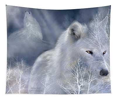 Tapestry featuring the mixed media White Wolf by Carol Cavalaris