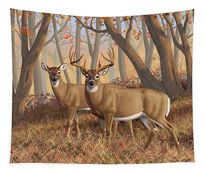 Whitetail Deer Painting - Fall Flame Tapestry