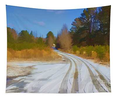Snow Covered Lane Tapestry