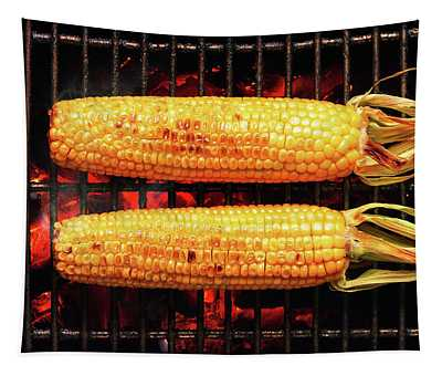Whole Corn On Grill Tapestry