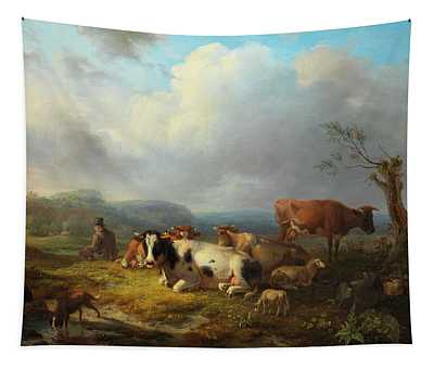 Wide Landscape With Cattle Herd And Rastendem Tapestry