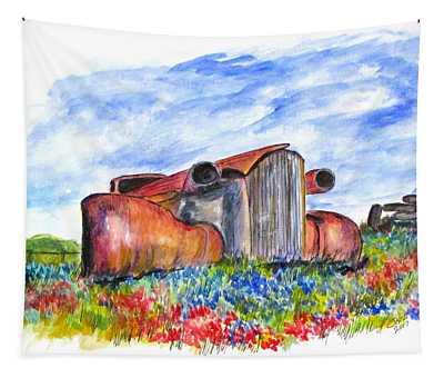 Wild Flower Junk Car Tapestry