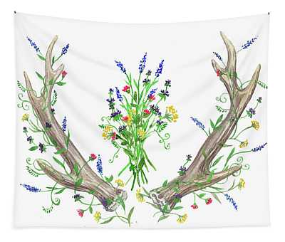 Wild Flowers And Antlers Watercolor Tapestry