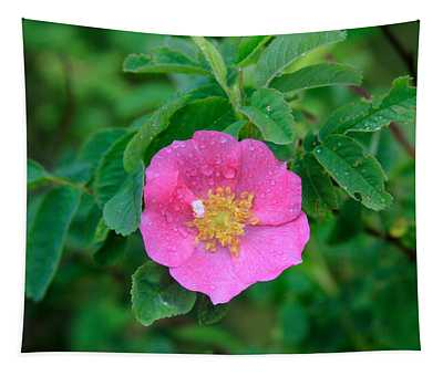 Wild Rose On Green Tapestry