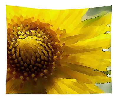 Tapestry featuring the digital art Wild Sunflower Up Close by Shelli Fitzpatrick