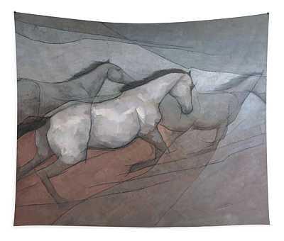 Wild White Horses Tapestry