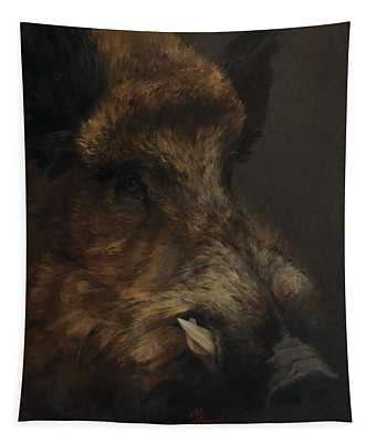 Wildboar Portrait Tapestry