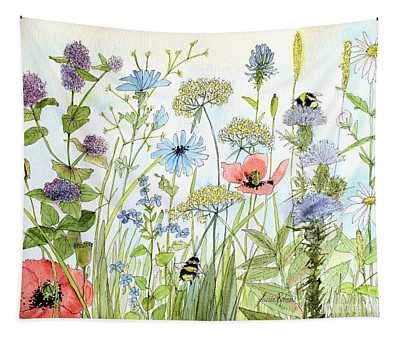 Wildflower And Bees Tapestry