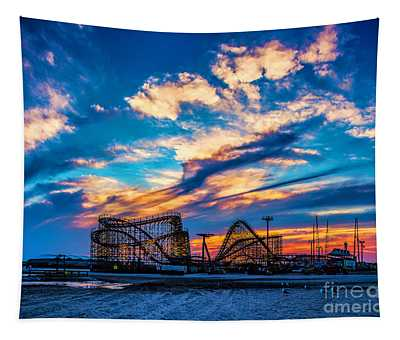 Wildwood Beach Sunset Tapestry