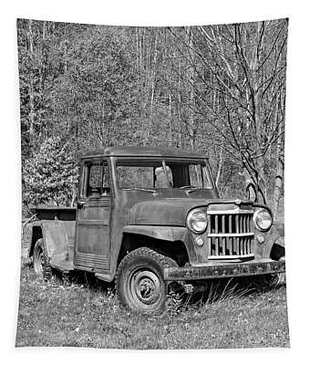 Willys Jeep Pickup Truck Monochrome Tapestry