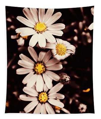 Wilting And Blooming Floral Daisies Tapestry
