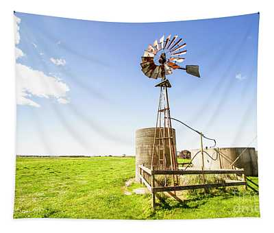 Wind Powered Farming Station Tapestry