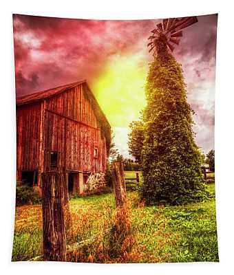 Windmill At The Barn Tapestry