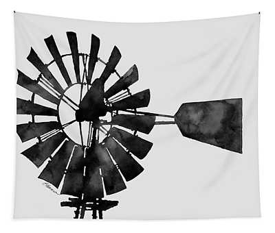 Windmill In Black And White Tapestry