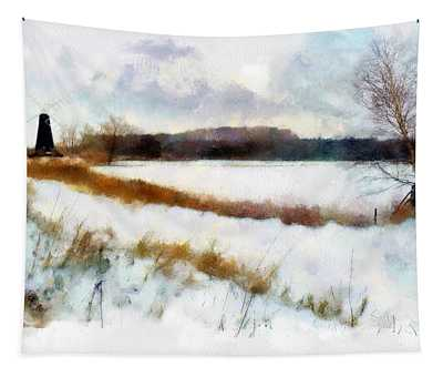 Windmill In The Snow Tapestry