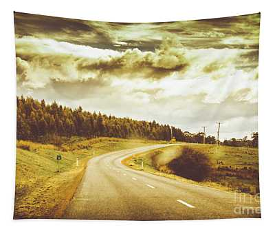 Window To A Rural Road Tapestry