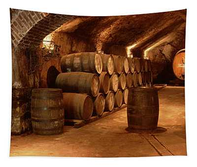 Wine Barrels In A Cellar, Buena Vista Tapestry
