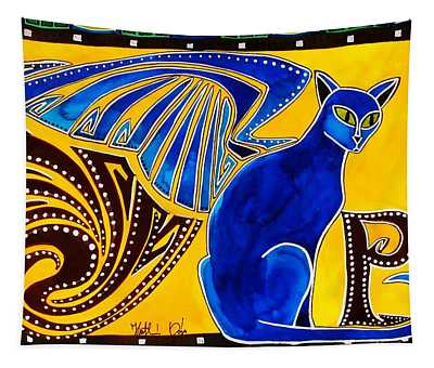 Winged Feline - Cat Art With Letter P By Dora Hathazi Mendes Tapestry