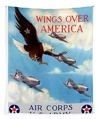 Wings Over America - Air Corps U.s. Army Tapestry