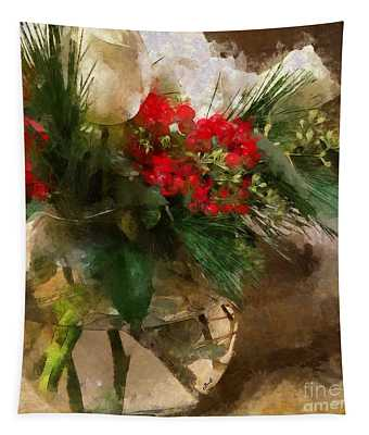 Winter Flowers In Glass Vase Tapestry